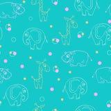 Teste padrão infinito dos animais Girafa, hipopótamo e elefante Foto de Stock Royalty Free