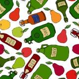 Teste padrão infinito sem emenda de Apple, pera, cidra em umas garrafas de vidro diferentes do vintage Menu da barra Coleção da c ilustração stock