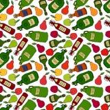 Teste padrão infinito sem emenda de Apple, pera, cidra em umas garrafas de vidro diferentes do vintage Menu da barra Coleção da c ilustração royalty free