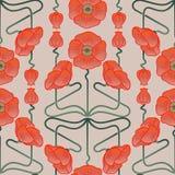 Teste padrão inspirado pelo estilo do art nouveau Imagens de Stock