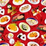 Teste padrão japonês sem emenda do alimento Fotografia de Stock