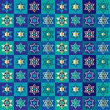 Teste padrão judaico do fundo do tabuleiro de damas das estrelas Imagem de Stock Royalty Free