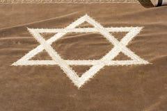 Teste padrão judaico retro de matéria têxtil da tapeçaria da sinagoga Foto de Stock Royalty Free