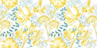 Teste padrão lanç sem emenda tirado das flores do vetor mão amarela no fundo branco ilustração stock