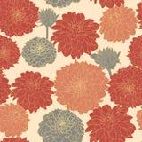 Teste padrão laranja-vermelho japonês do vintage floral sem emenda pastel do verão Fotos de Stock