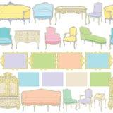 Teste padrão linear da mobília Rococo Imagens de Stock Royalty Free