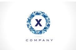 Teste padrão Logo Design do azul da letra X ilustração do vetor