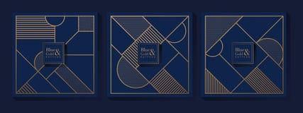Teste padrão luxuoso do azul e do ouro imagem de stock