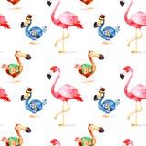 Teste padrão mágico com o flamingo do birdand do dodó da fantasia Imagens de Stock