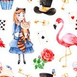 Teste padrão mágico com rosa bonita, cartões de jogo, chapéu, flamingo Imagem de Stock