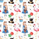 Teste padrão mágico com rosa bonita, cartões de jogo, chapéu, flamingo Foto de Stock Royalty Free