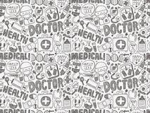 Teste padrão médico da garatuja sem emenda Imagens de Stock Royalty Free