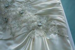 Teste padrão macro do vestido de casamento fotos de stock
