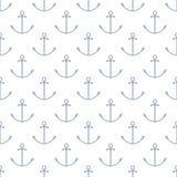 Teste padrão marítimo sem emenda com âncora, linha estilo ilustração stock