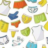 Teste padrão masculino da garatuja do roupa interior Fotos de Stock