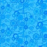 Teste padrão mecânico sem emenda do fundo do vetor Cores azuis e elétricas Imagem de Stock Royalty Free