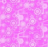 Teste padrão mecânico sem emenda do fundo do vetor Cores violetas, cor-de-rosa, brancas Imagem de Stock