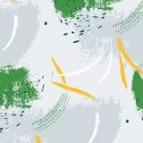 Teste padrão minimalistic expressivo Decoração pastel verde contemporânea Cópia cinzenta tirada mão da escova do moderno stylish ilustração royalty free