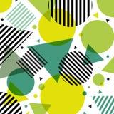 Teste padrão moderno dos círculos e dos triângulos da forma da natureza verde abstrata com linhas pretas diagonalmente no fundo b ilustração do vetor