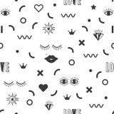 Teste padrão moderno preto geométrico e do divertimento do símbolo dos ícones no fundo branco ilustração stock