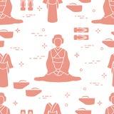 Teste padrão Mulher asiática, roupa japonesa, sapatas ilustração royalty free