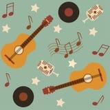 Teste padrão musical sem emenda com guitarra Foto de Stock