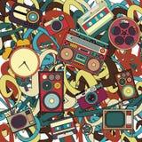Teste padrão musical tirado das garatujas dos desenhos animados mão bonito Detalhado colorido, com lotes dos objetos ilustração royalty free