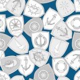 Teste padrão náutico sem emenda com escuro - fundo azul ilustração royalty free