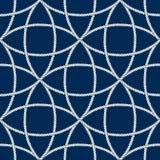 Teste padrão náutico sem emenda da corda, branco em escuro - azul foto de stock royalty free