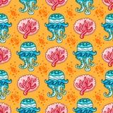 Teste padrão náutico sem emenda Fundo de Coral Jellyfish Imagens de Stock