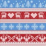 Teste padrão nórdico azul e vermelho do inverno do Natal com rena, coelhos, árvores do Xmas, anjos, curva no ponto escandinavo da Imagens de Stock