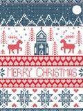 Teste padrão nórdico do Feliz Natal do estilo na vila inclusiva vermelha e branca do país das maravilhas do inverno, igreja, árvo Foto de Stock