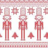 Teste padrão nórdico escandinavo do Natal com soldado da quebra-nozes, árvores do Xmas, flocos de neve, estrelas, neve no vermelh Fotografia de Stock