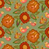 Teste padrão nacional do ornamento com flores e pássaros Imagens de Stock Royalty Free