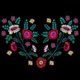 Teste padrão nativo do bordado com flores étnicas ilustração royalty free