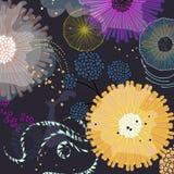 Teste padrão natural do paraíso exótico Fundo botânico mágico fresco Elementos subaquáticos da fantasia imagem de stock royalty free