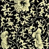 Teste padrão no fundo preto com flores chinesas ilustração stock