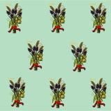Teste padrão no ramalhete das flores e dos cereais com uma fita vermelha ilustração do vetor