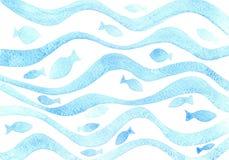 Teste padrão ondulado azul da aquarela com peixes ilustração do vetor