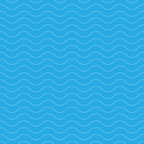 Teste padrão ondulado sem emenda Linhas finas brancas no fundo azul Tema náutico, naval e da água Ilustração do vetor Imagens de Stock