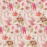 Teste padrão oriental 3 floral e do pássaro Fotos de Stock Royalty Free