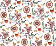 Teste padrão oriental floral e dos pássaros Foto de Stock Royalty Free