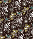 Teste padrão oriental floral e dos pássaros Imagens de Stock Royalty Free