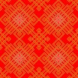 Teste padrão oriental Tangled no vermelho e no ouro, sem emenda Foto de Stock