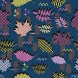 Teste padrão original impressionante do vetor da folhagem de outono do outono com sumário colorido na moda geométrico de memphis  ilustração do vetor