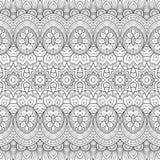 Teste padrão ornamentado monocromático sem emenda do vetor Imagem de Stock