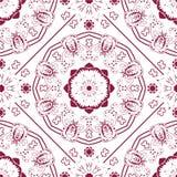 Teste padrão ornared vermelho das senhoras Com teste padrão sem emenda no painel da amostra de folha Imagens de Stock Royalty Free