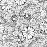 Teste padrão para o livro para colorir com flores abstratas Fotografia de Stock Royalty Free
