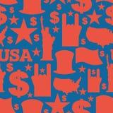 Teste padrão patriótico dos símbolos de América Ornamento do nacional dos EUA Foto de Stock Royalty Free