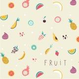 Teste padrão pequeno dos ícones das frutas e legumes ilustração stock